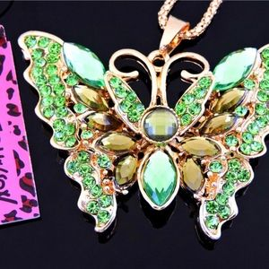 Betsey Johnson Green Butterfly necklace